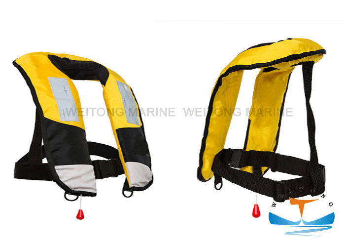 CE Manual Life Jacket , Inflatable Life Jackets 150N Single Air Chamber