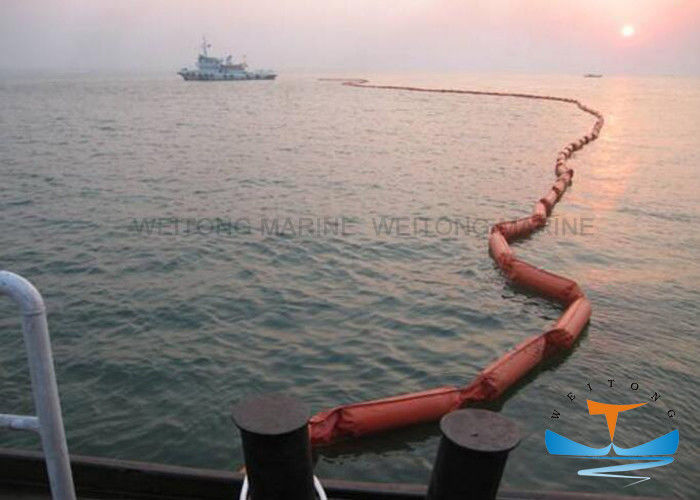 Easy Deployment Oil Spill Containment Boom , Pvc Oil Boom 20KN Strength
